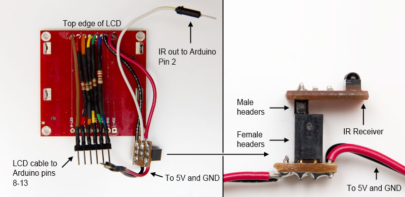LCD and IR receiver breakout board wiring
